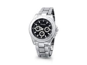 Mens Sporty Silver Tone Black Fashion Bracelet Watch