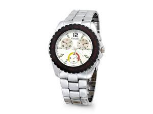 Mens Silver Tone Fashion Bracelet Rugged Wrist Watch