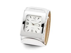 Ladies Silver Tone White Leather Band Wristwatch