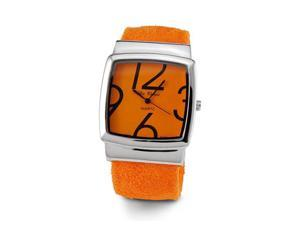 Women's Orange Silver Tone Quartz Bracelet Wristwatch