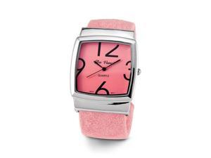 Women's Pink Silver Tone Quartz Bracelet Wristwatch