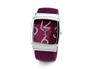 Women's Purple Silver Tone Quartz Bracelet Wristwatch