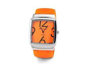 Ladies Quartz Orange Plastic Silver Tone Bracelet Watch