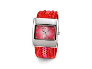 Ladies Red Sequin Silver Tone Bracelet Quartz Watch