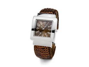 Womens Brown Silver Tone Bracelet Ladies Wristwatch