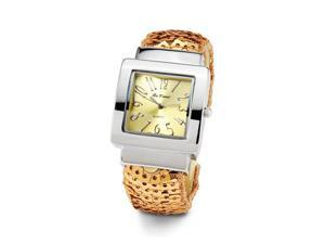 Womens Gold Dial Silver Tone Bracelet Ladies Wristwatch
