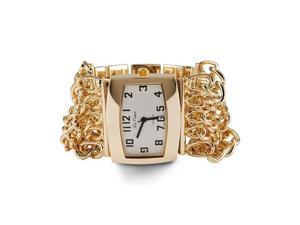 Ladies Gold Tone Link Adjustable Quartz Bracelet Watch