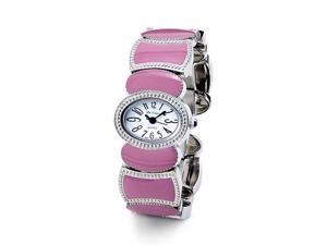 Women's White Dial Pink Enamel Silver Tone Bangle Watch