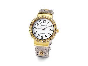 Ladies Vintage Style Gold Silver Tone CZ Bangle Watch