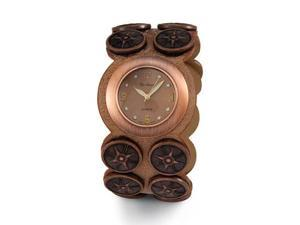 New Women's Brushed Copper Quartz Leather PU Watch
