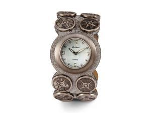New Women's Brushed Silver Quartz Leather PU  Watch