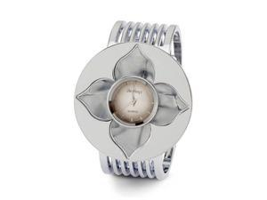 Gray Mother of Pearl Flower Silver Tone Wide Band Watch