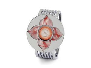 Red Mother of Pearl Flower Silver Tone Wide Band Watch