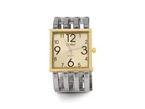 New Women's Square Gold Tone Dial Link Bangle Watch