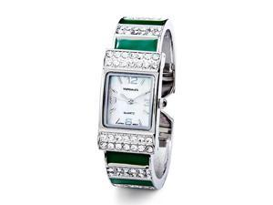 Women's Fashion CZ Green Enamel New Bangle Watch