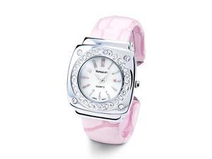 Pink Silver Tone Bezel Round CZ Fashion Bangle Watch