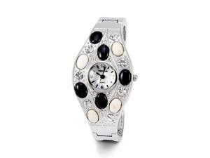 Ladies White CZ Black White Stones Silver Tone Watch