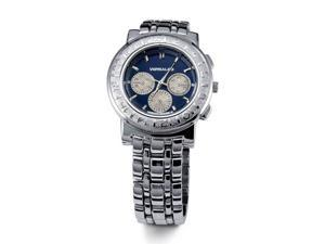 Mens New Blue Dial Silver Tone Face Band Bracelet Watch