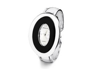 Ladies Black Silver Tone Oval Fashion Bangle Watch