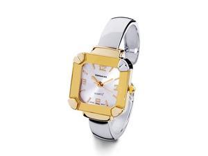 New Two Tone Gold Silver Square Women's Bangle Watch