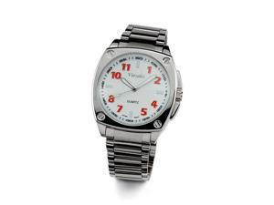 Mens Red Number Dial Stainless Steel Case Quartz Watch