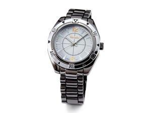 Mens White Dial Stylish Black Quartz Bracelet Watch