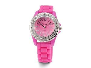 Womens Pink Dial Band White CZ Stone Quartz Wrist Watch
