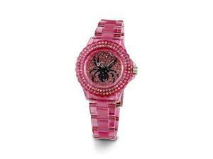 Ladies Pink White CZ Stone Black Spider Bracelet Watch