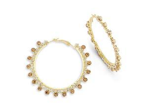 Smoky Topaz White CZ Gold Tone Solid Big Hoop Earrings