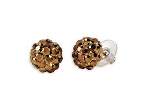 Polished Brown Gold Tone Domed Cluster Post Earrings