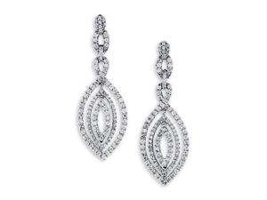 18K White Gold Dangle Fashion Round Diamond Earrings