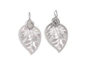 Polished Silver Tone Etched Leaf Dangle Charm Earrings