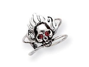 925 Sterling Silver Red Crystal Flaming Skull Toe Ring