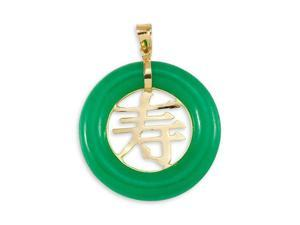 Solid 14k Gold Long Life Round Green Jade Pendant