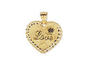 14k Yellow Gold Heart Love Flower Vintage Style Pendant