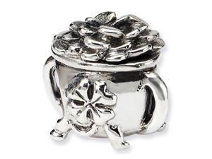 925 Sterling Silver Irish Pot of Gold Shamrock Bead