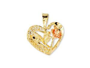 14k Yellow Rose Gold Diamond Cut Heart Flower Pendant