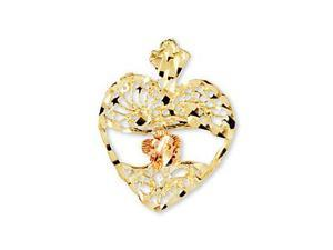 14k Yellow Rose Gold Vintage Style Heart Flower Pendant