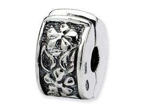 925 Sterling Silver Leaves Flower Hinged Clip Bead