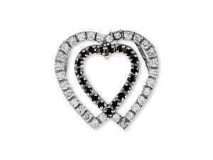 14k White Gold Black White CZ Two Hearts Love Pendant