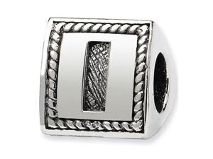 925 Sterling Silver Charm Letter I Triangle Block Bead