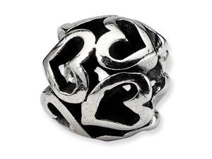 "925 Sterling Silver Charm 1/2"" Open Hearts Love Bead"