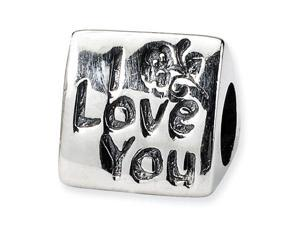 "925 Sterling Silver I LOVE YOU 3/8"" Flower Trilogy Bead"