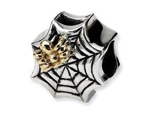 Plated 14k Gold 925 Sterling Silver Spider Web Bead