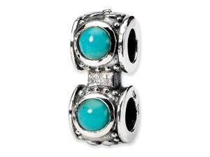 925 Sterling Silver Turquoise CZ Charm Connector Bead