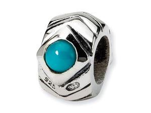 Solid 925 Sterling Silver Turquoise CZ Jewelry Bead