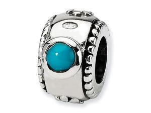 "Solid 925 Sterling Silver 1/4"" Charm Turquoise CZ Bead"