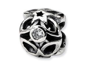 """925 Sterling Silver Clear CZ Stars 1/2"""" Charm Bead"""