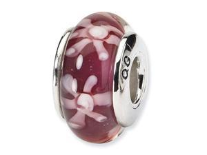 925 Silver Hand Blown Glass White Floral Charm Bead