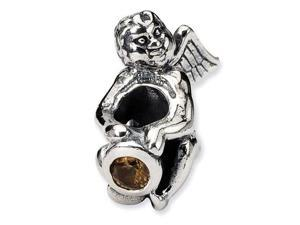 925 Sterling Silver November CZ Birthstone Angel Bead